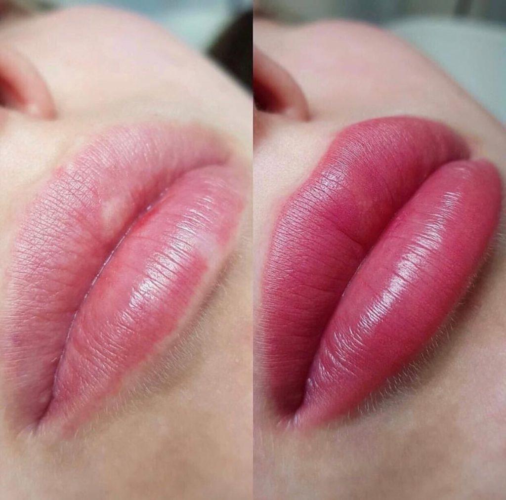 губы в акварельной технике до/после