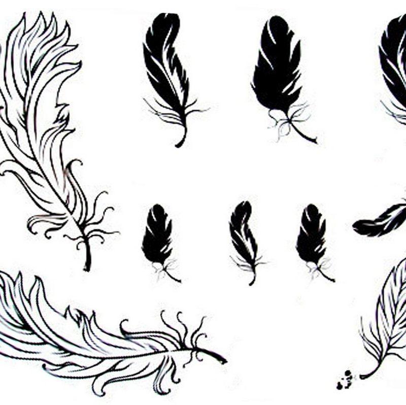 татуировка перо эскиз